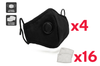 Washable & Reusable PM2.5 Face Mask With Respirator (4 Masks + 16 Filters)