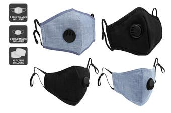 Family Pack Reusable PM2.5 Face Masks (2 Adult Masks + 2 Kids Masks, Black & Chambray)