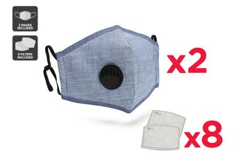 Chambray Washable & Reusable PM2.5 Face Mask With Respirator (2 Mask + 8 Filters)