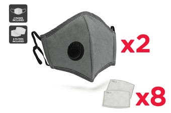 Grey Washable & Reusable PM2.5 Face Mask With Respirator (2 Mask + 8 Filters)