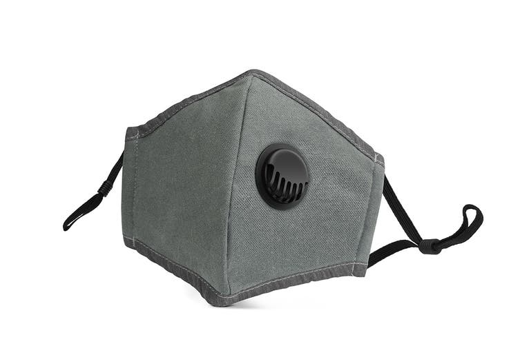 Grey Washable & Reusable PM2.5 Face Mask With Respirator (1 Mask + 4 Filters)