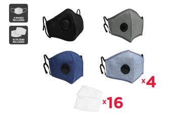 Mixed Colour Washable & Reusable PM2.5 Face Mask With Respirator (4 Masks + 16 Filters)