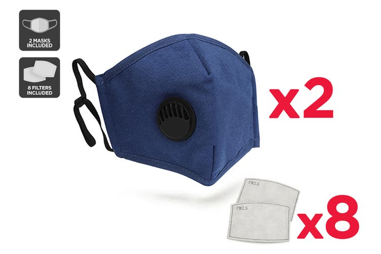 Navy Washable & Reusable PM2.5 Face Mask With Respirator (2 Mask + 8 Filters)