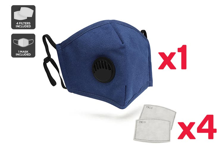 Navy Washable & Reusable PM2.5 Face Mask With Respirator (1 Mask + 4 Filters)