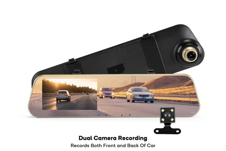 Kogan Rear View Mirror with Dash Cam and Reverse Camera