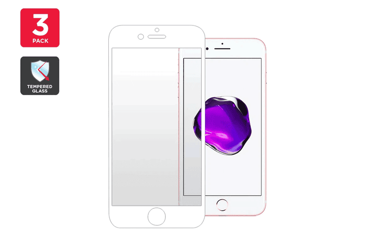 Premium Tempered Glass Screen Protector for iPhone 7 Plus (White) - 3 Pack