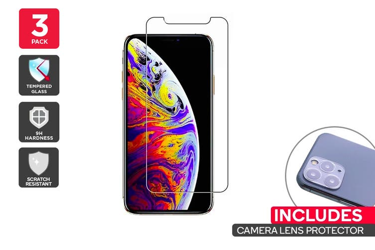 iPhone 11 Pro Max Screen Protector + Camera Lens Protector Pack (3 Pack)