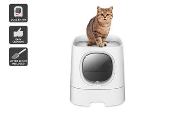 Pawever Pets Top / Front Entry Cat Litter Box with Scoop