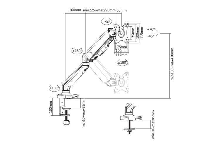 Kogan Full Motion Gas Spring Single Monitor Mount (Ostia Series - Black)