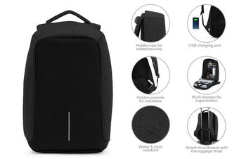 Anti-Theft Fortress Backpack with USB Port (Black)