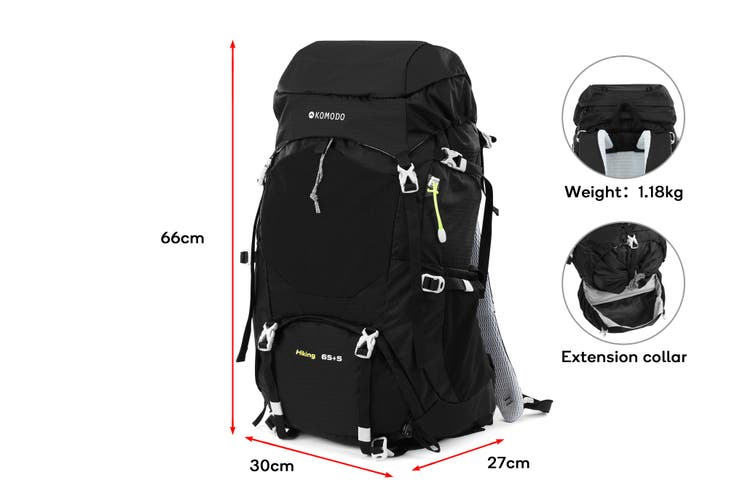 Komodo 70L Extendable Hiking Backpack With Rain Cover (Black)