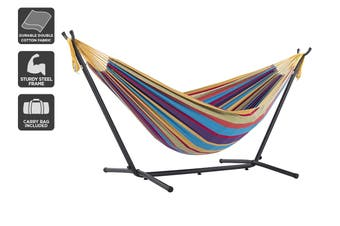 Double Cotton Hammock with Space Saving Steel Frame (Tropical)