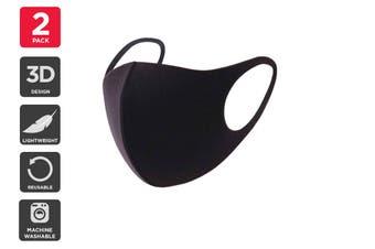 Reusable Washable Lightweight Face Mask (Black, 2 Pack)