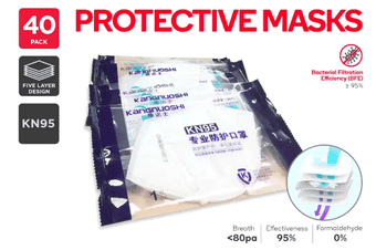 Kangnuoshi Particulate Respirator Face Mask KN95 (40 Pack) - Individually Wrapped