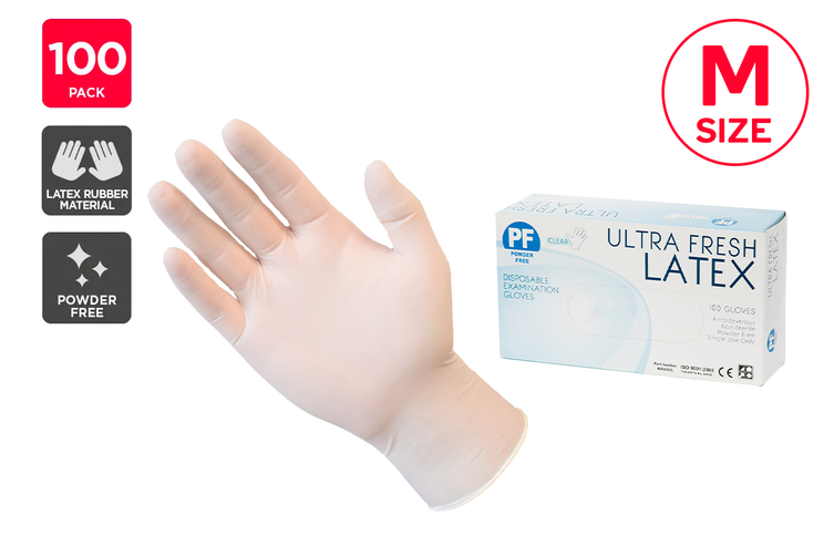 Ultra Fresh Disposable Latex Rubber Gloves Powder Free Clear - M (100 Pack)