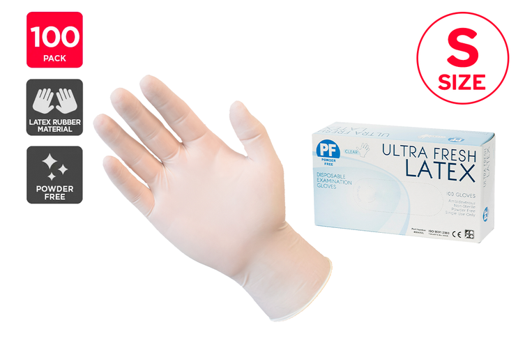 Ultra Fresh Disposable Latex Rubber Gloves Powder Free Clear - S (100 Pack)
