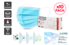 10 Pcs 3 Ply Disposable Face Mask (BFE ≥95%) - Individually Wrapped