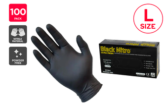 Ultra Fresh Disposable Nitrile Synthetic Rubber Gloves Powder Free Black (100 Pack)