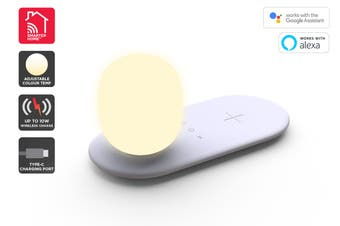Kogan SmarterHome™ Smart Cool & Warm White Night Light with 10W Wireless Charger