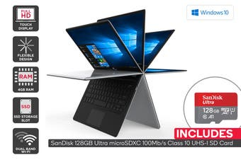 "Kogan Atlas 11.6"" C250 Convertible Laptop + 128GB Micro SD Card Bundle"
