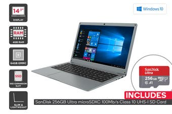 "Kogan Atlas 14.1"" N300 Laptop + 256GB Micro SD Card Bundle"