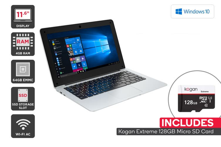 "Kogan Atlas 11.6"" L500 Laptop + 128GB Micro SD Card Bundle"