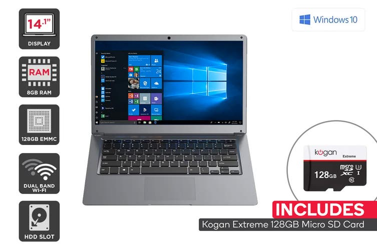 "Kogan Atlas 14.1"" N400 Laptop (8GB, 128GB) + 128GB Micro SD Card Bundle"
