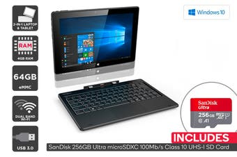 "Kogan Atlas 10.1"" 2-in-1 D500 Touchscreen Laptop + 256GB Micro SD Card Bundle"