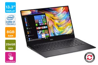 """Dell XPS 13 9360 13.3"""" QHD Windows 10 Touch Screen Laptop (i7-7500, 8GB RAM, 256GB, Silver) - Certified Refurbished"""