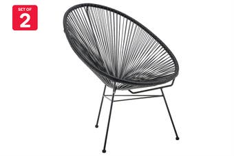 Matt Blatt Set of 2 Acapulco Outdoor Furniture Chair Replica (Black)