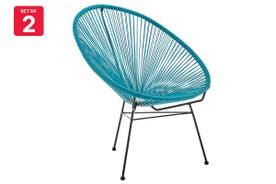 Matt Blatt Set of 2 Acapulco Outdoor Chair Replica (Blue)