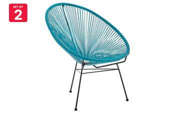 Matt Blatt Set of 2 Acapulco Outdoor Furniture Chair Replica (Blue)