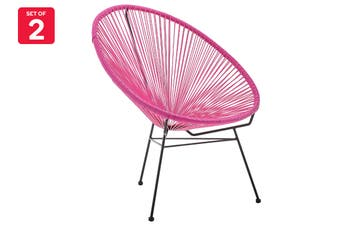 Matt Blatt Set of 2 Acapulco Outdoor Furniture Chair Replica (Pink)