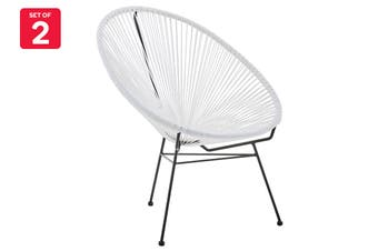 Matt Blatt Set of 2 Acapulco Outdoor Furniture Chair Replica (White)