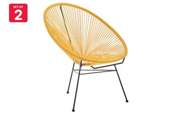 Matt Blatt Set of 2 Acapulco Outdoor Furniture Chair Replica (Yellow)