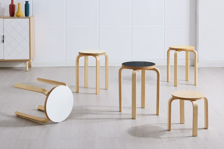 Matt Blatt Set of 4 Replica Aalto Jr Stool (Natural)