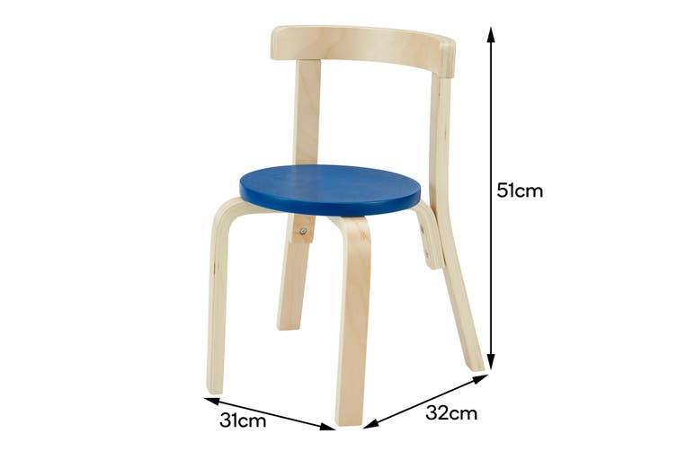 Matt Blatt Set of 2 Alvar Aalto Kids Chair 68 Replica (Natural/Blue)
