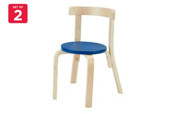 Matt Blatt Set of 2 Alvar Aalto Kids Chair 68 Replica (Natural/Blue)
