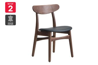 Matt Blatt Set of 2 Asger Dining Chair (Walnut Frame, Black Leather)