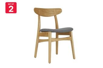 Matt Blatt Set of 2 Asger Dining Chair (Oak Frame, Grey Fabric)