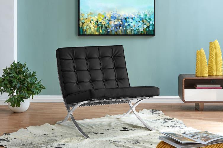 Matt Blatt Mies van der Rohe Barcelona Leather Chair Standard - Replica (Black)
