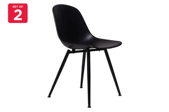 Matt Blatt Set of 2 Maria Grazia Neri Bonnie Chair (Black Seat, Black Metal Legs)