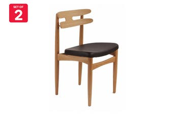 Matt Blatt Set of 2 Bramin Wood Dining Chair (Ash, Black Leather)