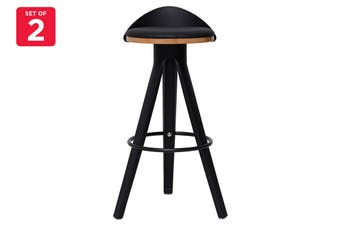 Matt Blatt Set of 2 Conner Stool 75cm (Black Top)
