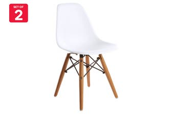 Matt Blatt Set of 2 Replica Eames DSW Kids Side Chair (White/Beech Legs)