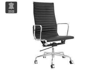 Matt Blatt Replica Eames Group Standard Aluminium High Back Office Chair (Black Leather)