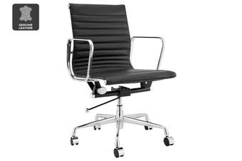 Matt Blatt Replica Eames Group Standard Aluminium Low Back Office Chair (Black Leather)