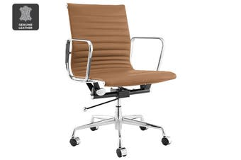 Matt Blatt Replica Eames Group Standard Aluminium Low Back Office Chair (Brown Leather)