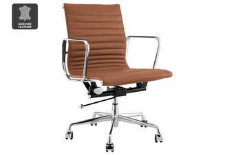 Matt Blatt Replica Eames Group Standard Aluminium Low Back Office Chair (Tan Leather)