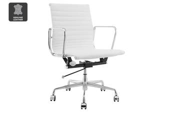 Matt Blatt Replica Eames Group Standard Aluminium Low Back Office Chair (White Leather)